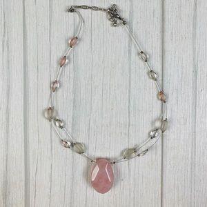 Vtg Rose quartz handmade necklace
